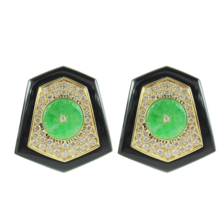 Jade, Onyx, and Diamond Earrings For Sale