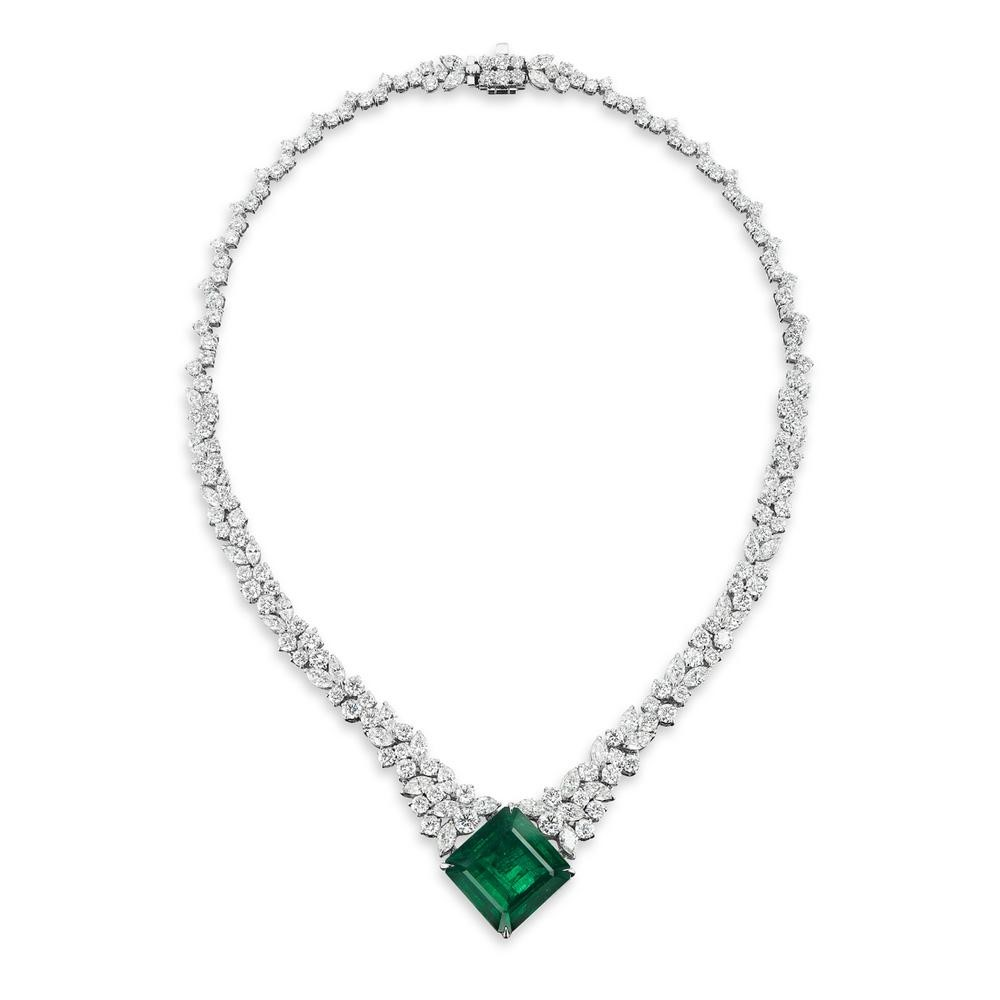Beautiful Emerald and Diamond Necklace by Takat