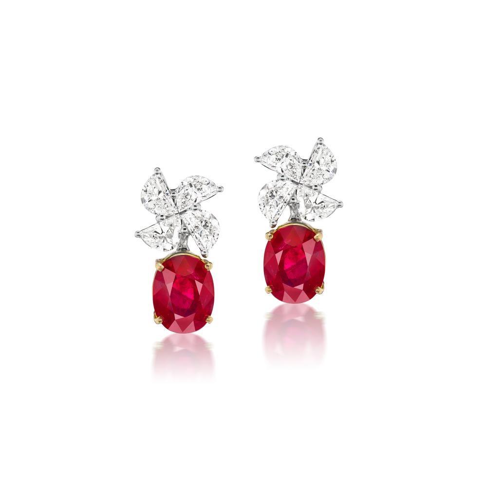 Pigeon Blood Ruby and Diamond Earrings